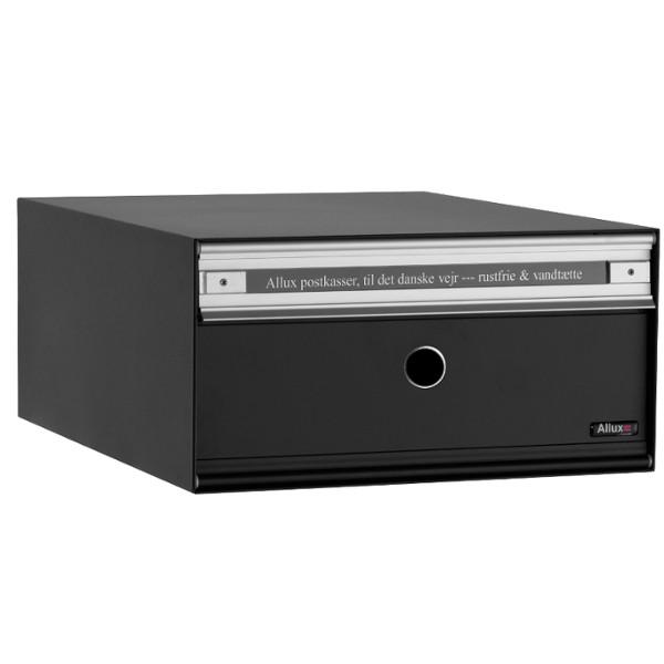 Allux Anlagenbriefkasten PC1, Stahl mit Alu-Klappe, schwarz pulverbeschichtet