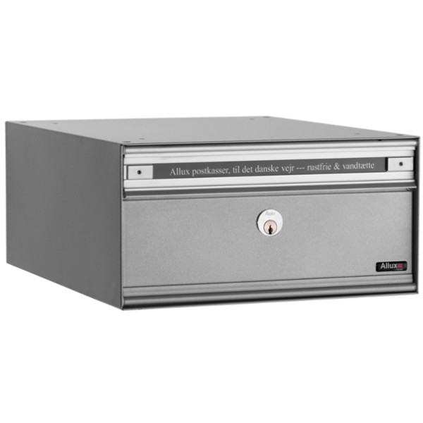 Allux Anlagenbriefkasten PC1, Stahl mit Alu-Klappe, alugrau pulverbeschichtet