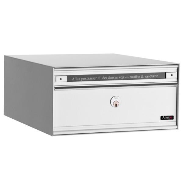 Allux Anlagenbriefkasten PC1, Stahl mit Alu-Klappe, weiss pulverbeschichtet